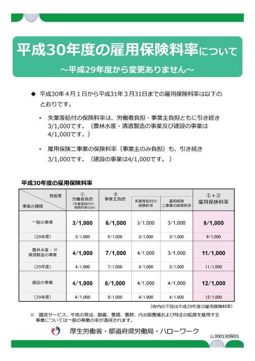 【厚労省リーフレット】平成30年度の雇用保険料について